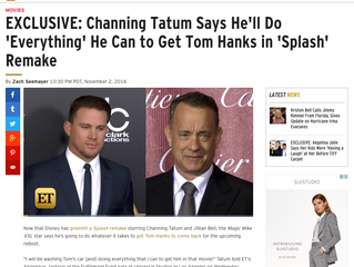 ETonline EXCLUSIVE: Channing Tatum Says He'll Do 'Everything' He Can to Get Tom Hanks in