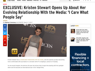ETonline EXCLUSIVE: Kristen Stewart Opens Up About Her Evolving Relationship With the Media: 'I