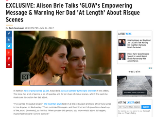 ETonline EXCLUSIVE: Alison Brie Talks 'GLOW's Empowering Message & Warning Her Dad '