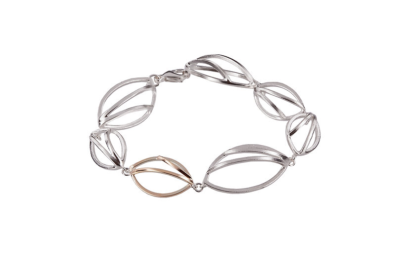 Sterling Silver and 9ct Gold Bracelet