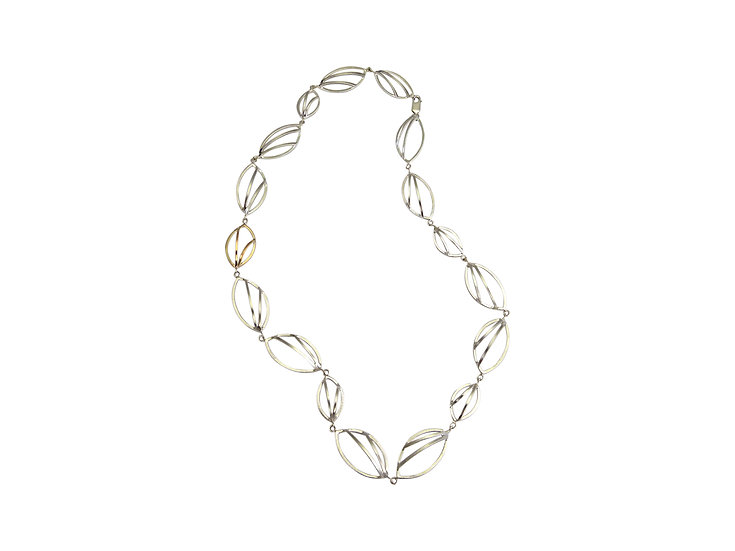 Large Sterling Silver, 9ct Gold Link Necklace