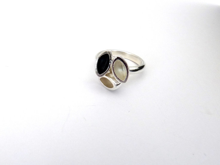 Sterling Silver and Oxide Triple Ring