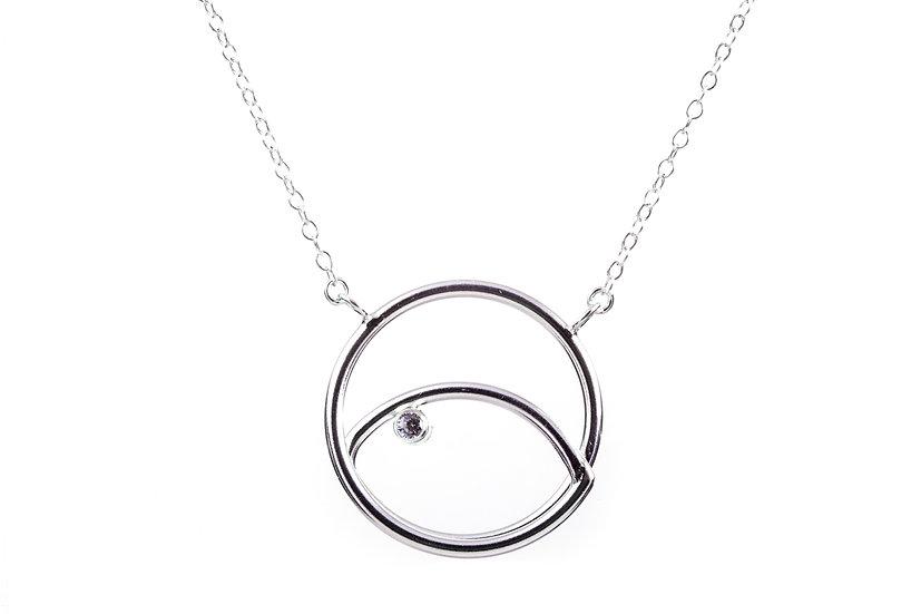 Sterling Silver, White Sapphire Pendant