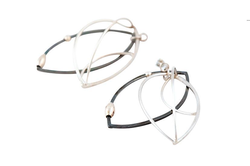 Sterling Silver, Oxide Drop Earrings