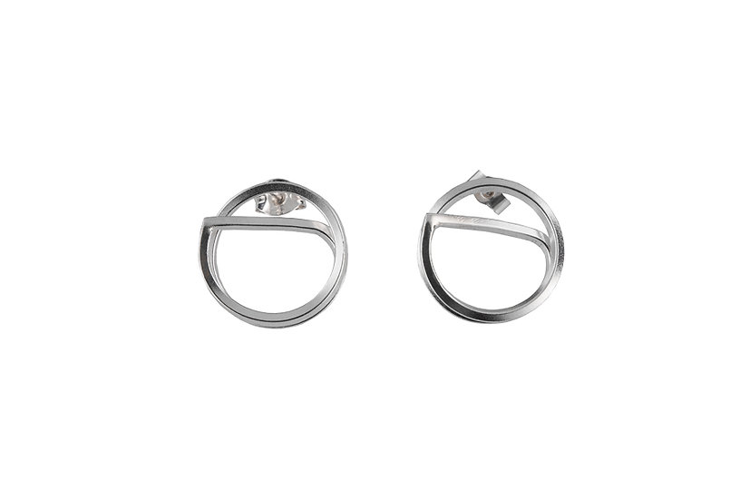 Flat Curve Sterling Silver Earrings