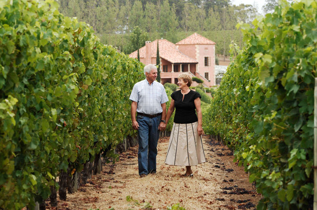 Bill and Sandra Pannell in Picardy Vineyard