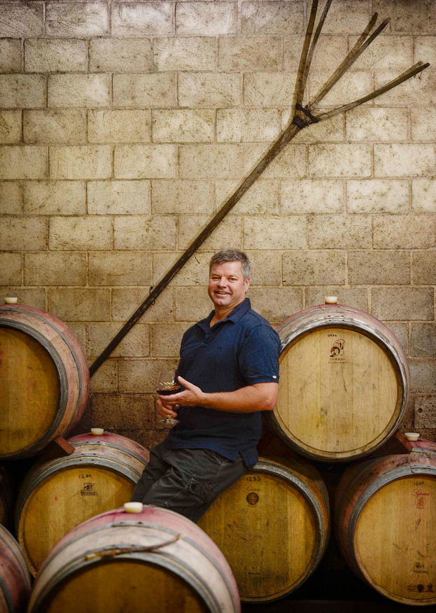 Dan Pannell in Picardy Winery Barrel Room