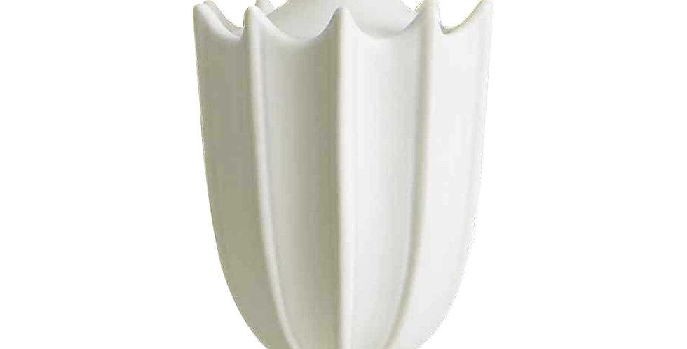 CRENULATED MINI URN - MATTE WHITE