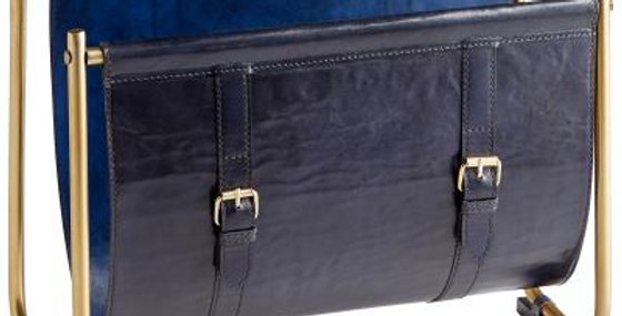 Blue leather magazine rack