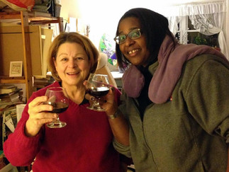 Decanting Blueberry Cordials with Hannah and Catherine