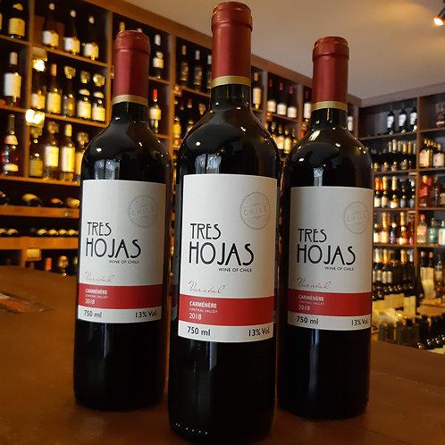 Vinho Tinto Chileno Tres Hojas Carmenere 750ml
