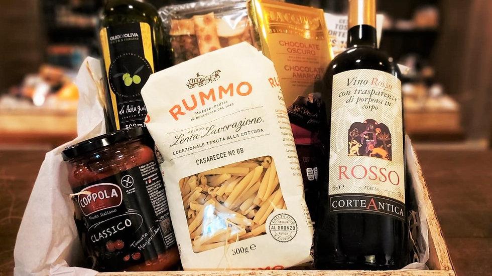 Cesta Especial: Vinho + Crostines + Massa Italiana + Molho + Azeite + Chocolate