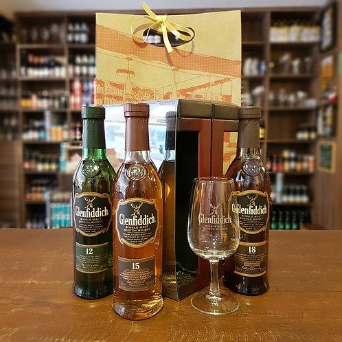 Box Whisky Glenfiddich 12 + 15+ 18 Anos + Taça