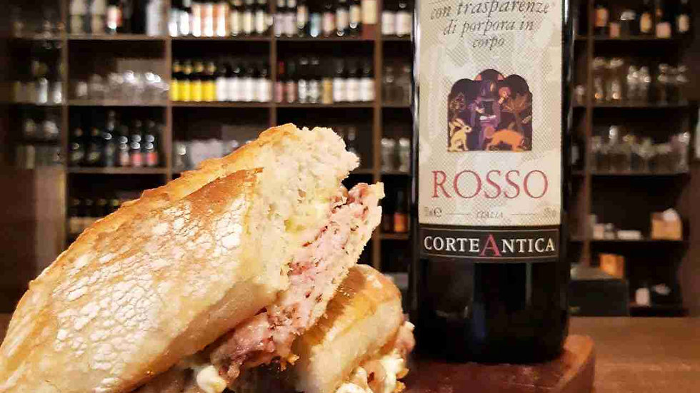 Combo Vinho Italiano Corte Antica + Lanche Ciabatta de Presunto Alemão