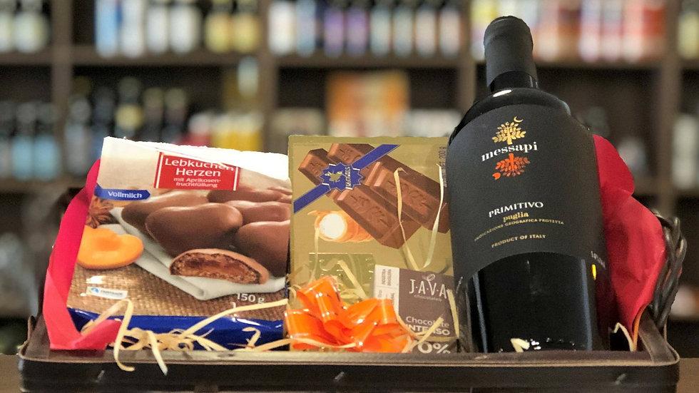 Cesta de Vinho com Chocolates