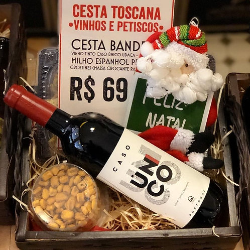 Cesta Toscana de Vinho e Petiscos