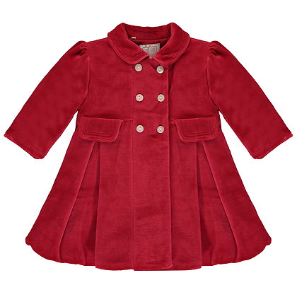 Rosanna - Red Velour padded Coat, with pleats & Beret