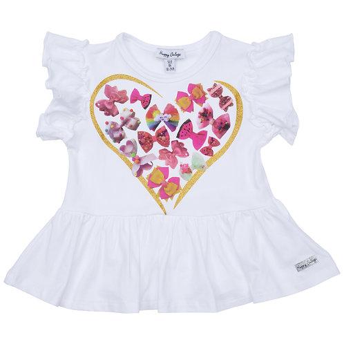 Happy Calegi - Bow Brightwhite Heart Tunic