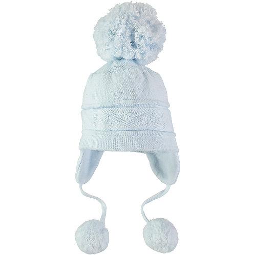Griffin - Blue true knit cosy ear bobble Hat