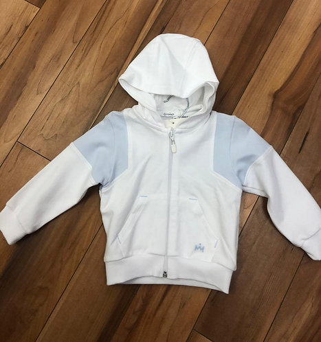 GYMP - White & Sky Blue Hoody Zip Up
