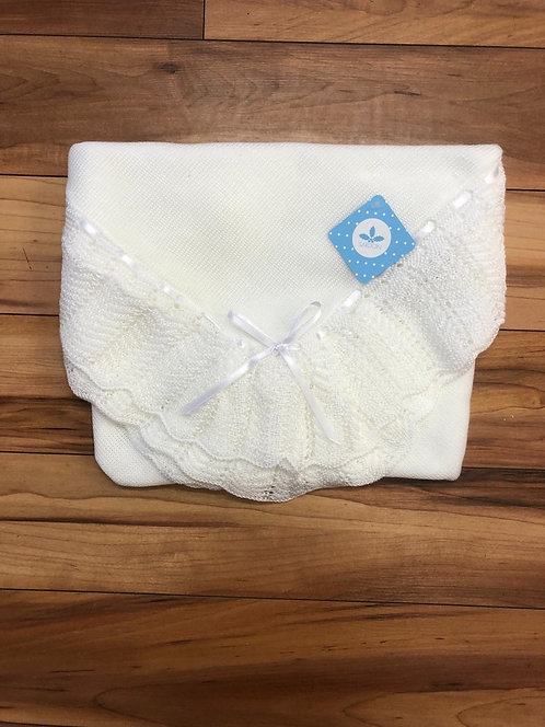 Sardon - Ivon Baby Knitted Shawl in White