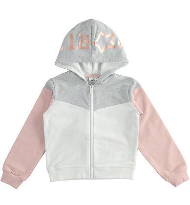 iDO - Melange Grey Full zip with laminated print hood