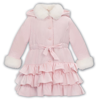 Dani Sarah Louise - Girls Fur Trim Padded Coat in Pink