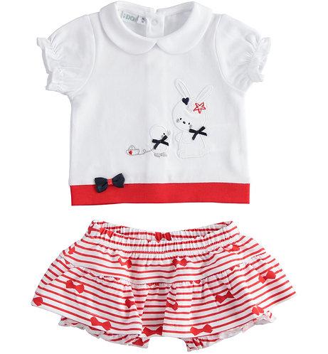 iDO - White & Red T-Shirt & Skirt Set