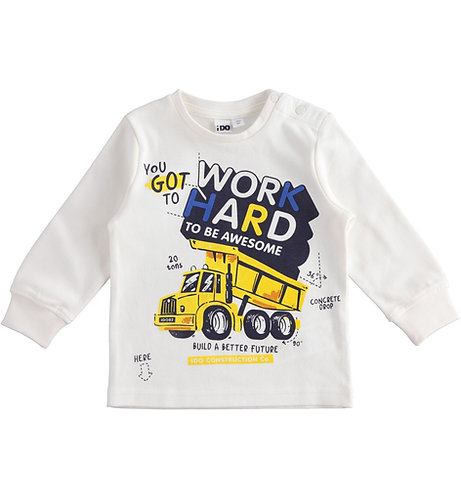 iDO - Cream Long Sleeve Work Hard Long Sleeve