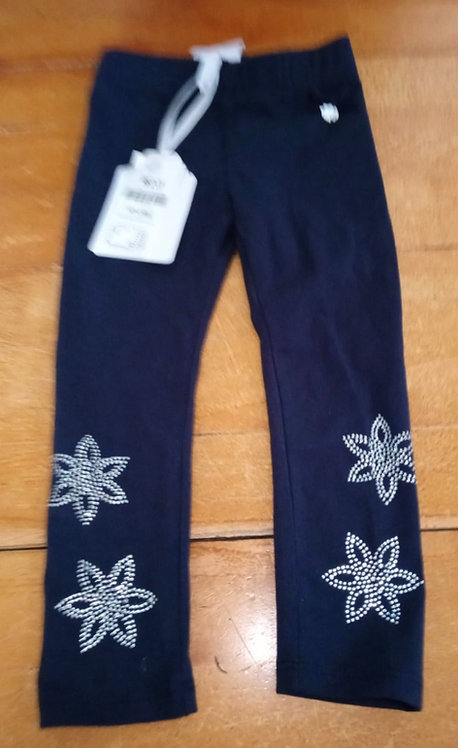 Le Chic Navy Leggings with Star Detail