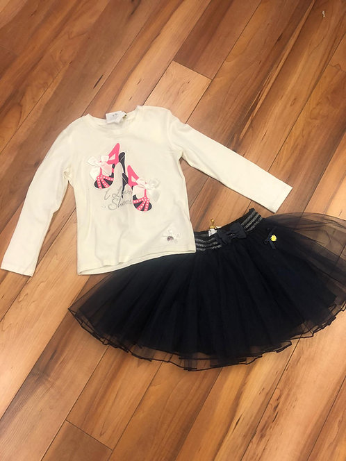 Le Chic -  Winter White Top and Navy Tully Skirt