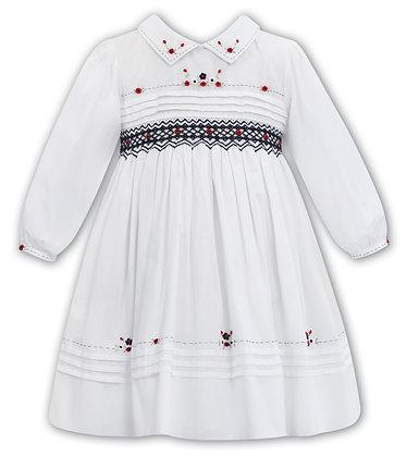Sarah Louise  -White Hand-Smocked Dress