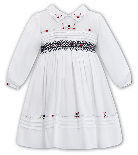 Sarah Louise  -White Hand-Smocked Dress