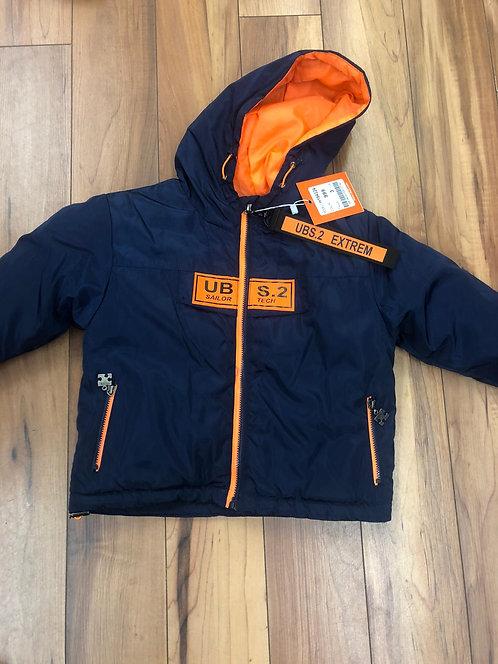 UBS2 - Navy & Orange Hooded Coat