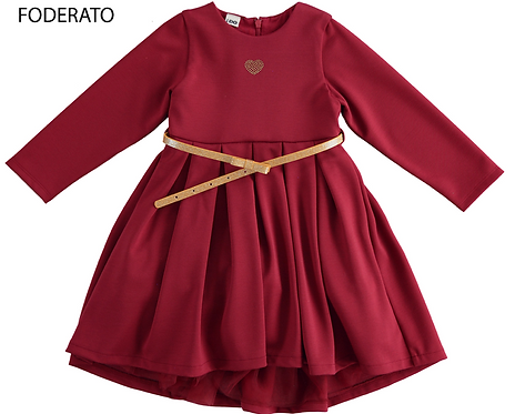 iDO -Wine Knitted Dress with Sleeves