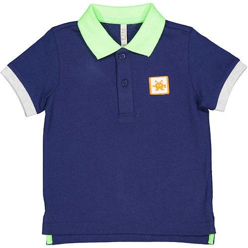 Birba - Navy T- Shirt with Lime Colar