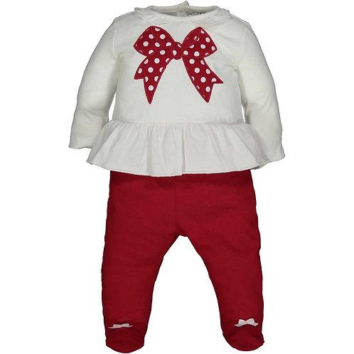 Birba - White & Red Bow Set