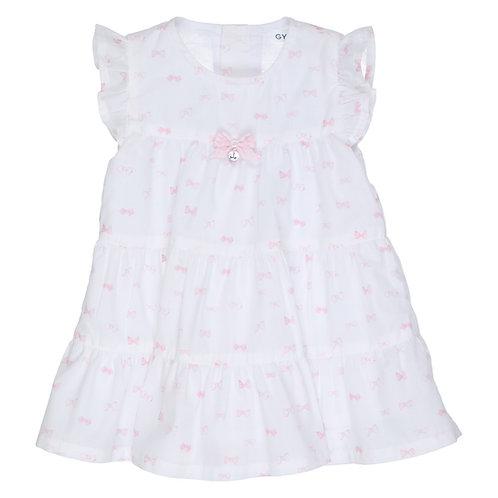 GYMP - White & Light Pink Bow Dress