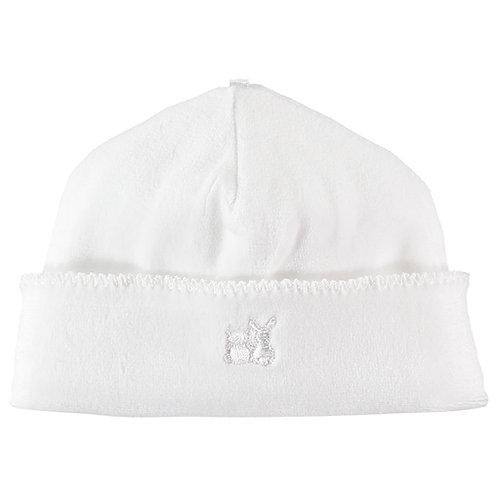 Novel -  Velour pull on Hat with picot edge - White