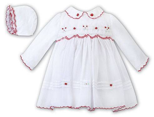 Sarah Louise -  Girls White with Red Embroidery Dress and Bonnet