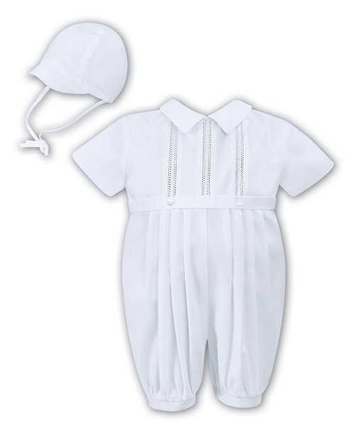 Sarah Louise -White Short sleeved Romper and Cap