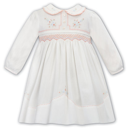 Sarah Louise - Girls Ivory and Peach Dress