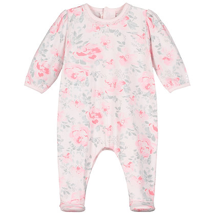 Tallulah - Jersey AIO with large floral print & lace trim pink and grey
