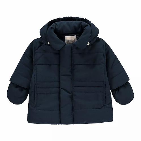 Neil - Navy Microfibre Jacket, detachable Hood & Mitts