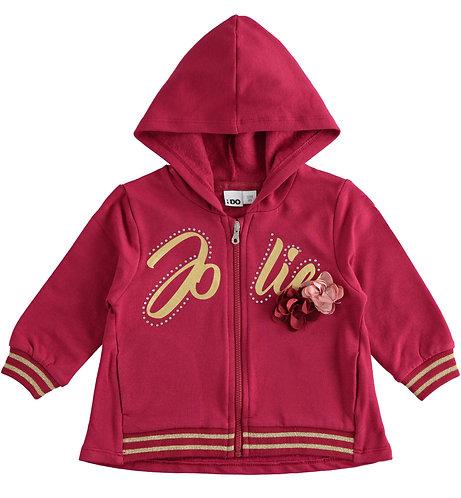 iDO - Full zip sweatshirt with hood and flowers
