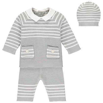 Tanner - 2pc knit stripe Top with pockets & Trouser, Hat - Grey