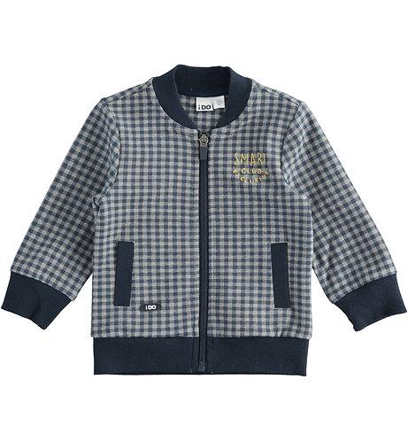 iDO - Full zip sweatshirt in printed vichy cotton