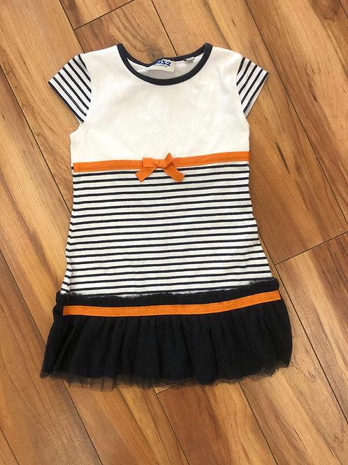 UBS2 - Stripe Orange Bow Dress