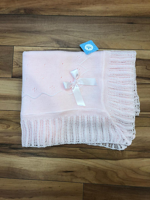 Sardon - Victoria Baby Knitted Shawl in Pink