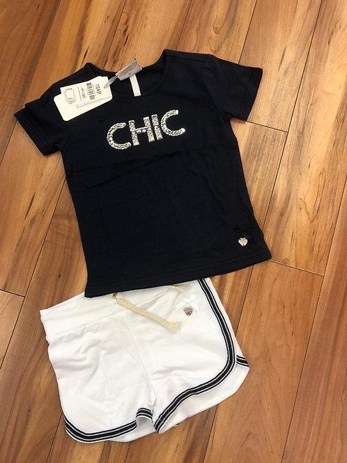Le Chic  - Navy T-Shirt & White Shorts